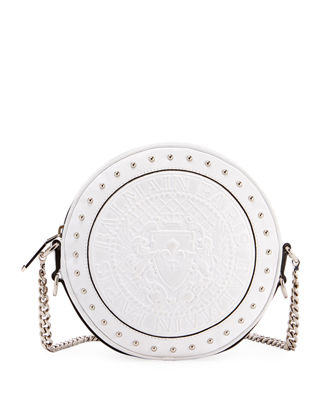 Disco Leather Circle Crossbody Bag in White