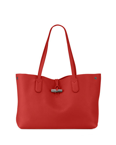 Roseau Essential Medium Leather Shoulder Tote Bag