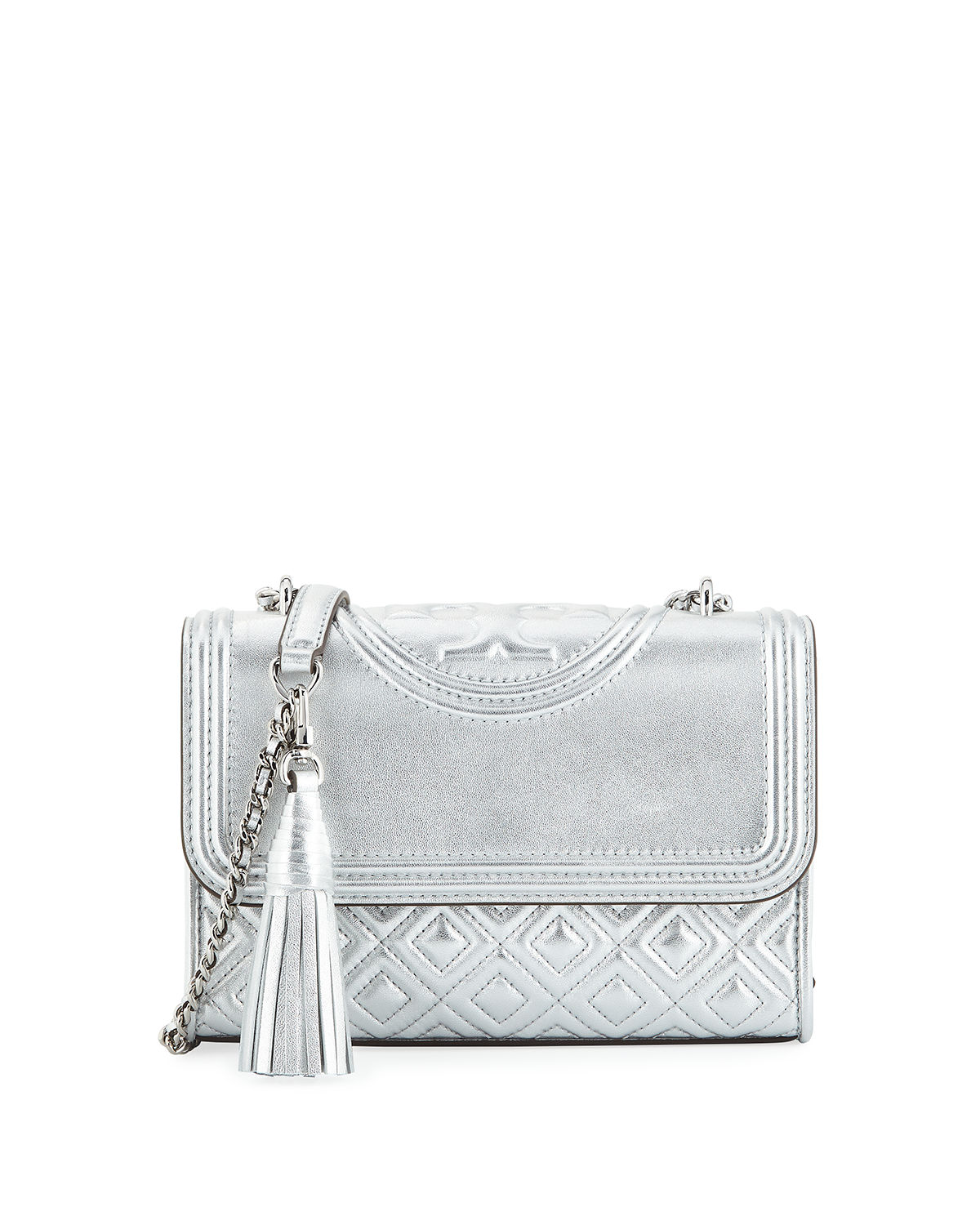 4d8ee902ae9c Tory Burch Fleming Small Convertible Metallic Leather Shoulder Bag ...