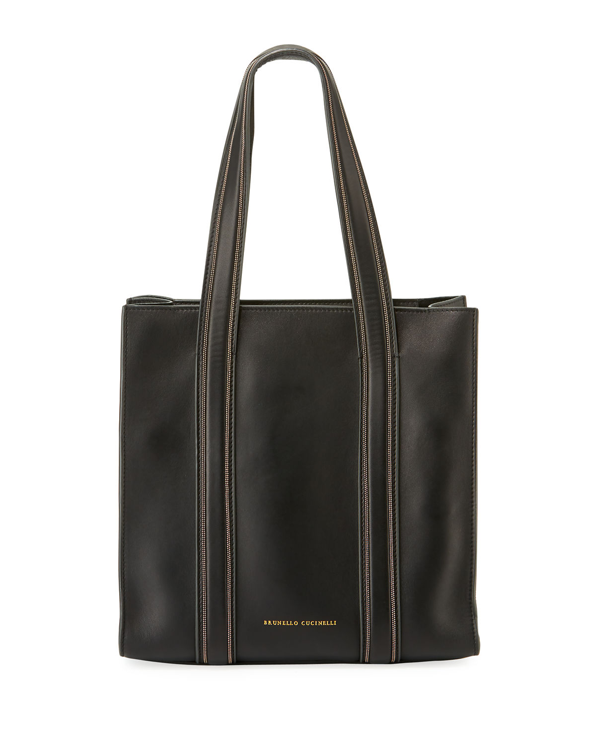 03ebd064eaae Brunello Cucinelli Smooth Leather Tote Bag with Monili Trim