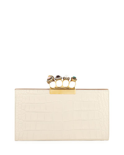 Jeweled Knuckle Four-Ring Croc Clutch Bag - Golden Hardware