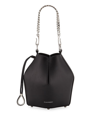 Small Smooth Leather Bucket Bag