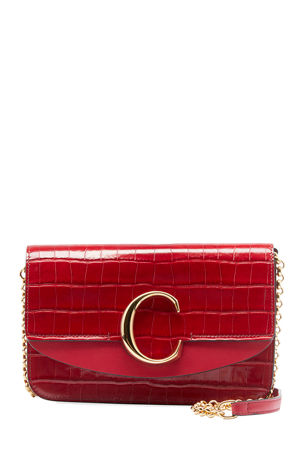 Chloe C Croc-Embossed Leather Shoulder Bag