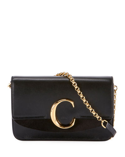 C Shiny & Suede Calfskin Clutch With Chain