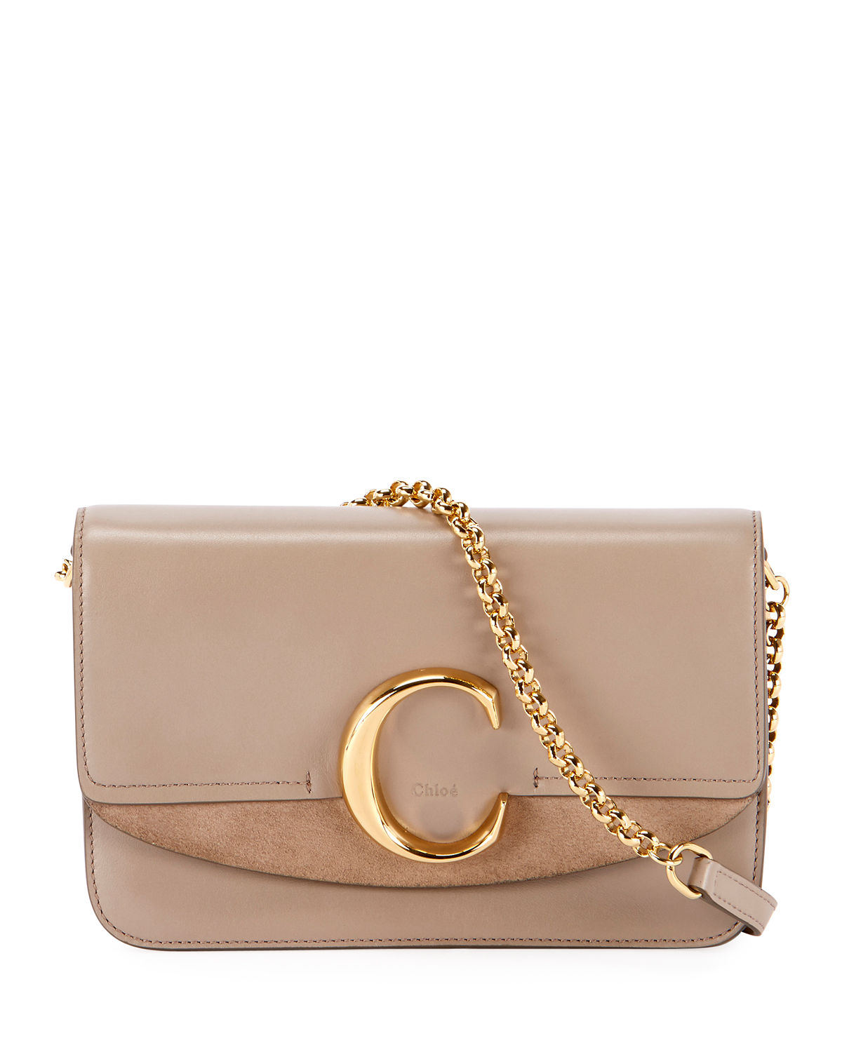 C Shiny Suede Calfskin Clutch With Chain