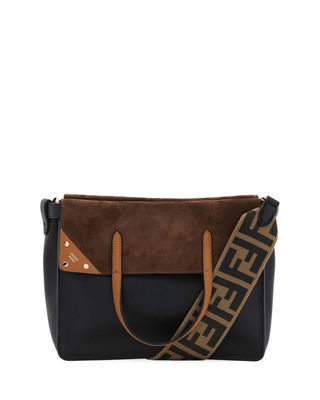 Grace Leather And Suede Fold-Over Tote Bag in Black/Brown