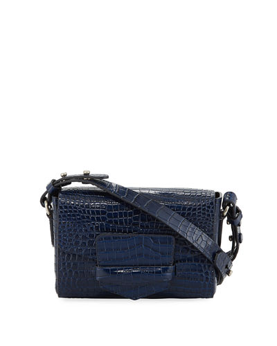 Small Croc-Embossed Flap Crossbody Bag