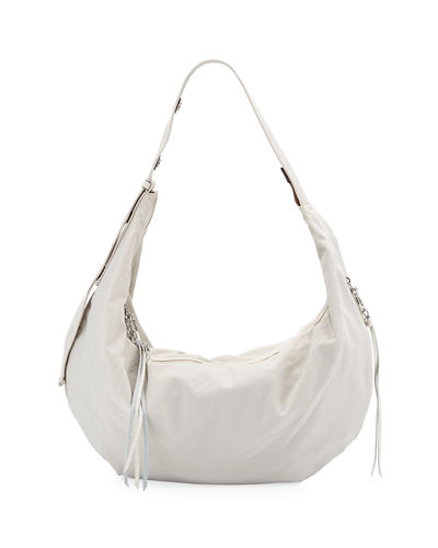 Distressed Nylon Hobo Bag