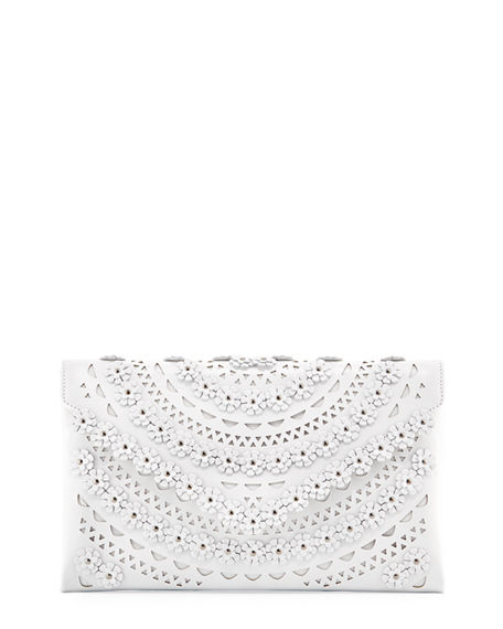ALAIA Oum Laser-Cut Leather Clutch Bag with Flowers