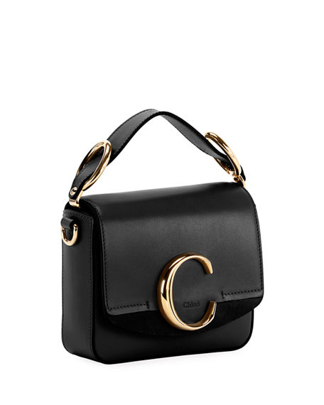 Image 2 of 4: Chloe C Mini Shiny Leather Shoulder Bag
