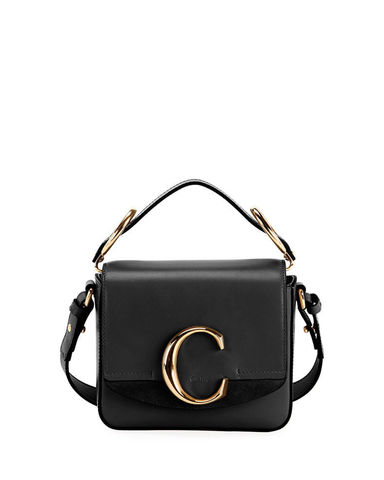 Chloe C Mini Shiny Leather Shoulder Bag