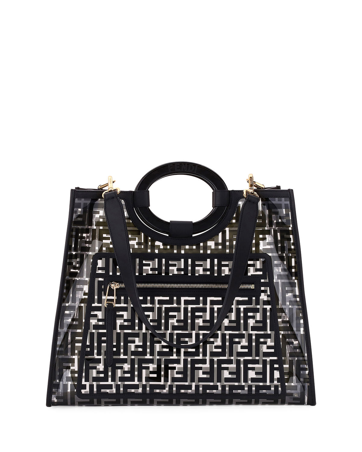 05d9bbdf50ab Fendi Runaway Medium FF PVC Shopper Tote Bag