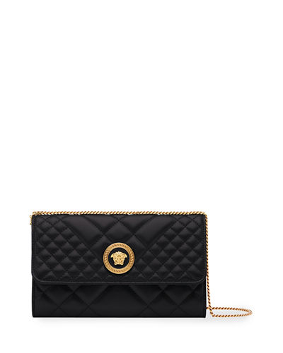 Icon Quilted Leather Wallet on Crossbody Chain