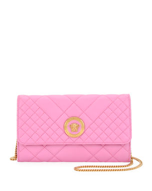 ca56ff2285 Versace Icon Quilted Leather Wallet on Crossbody Chain