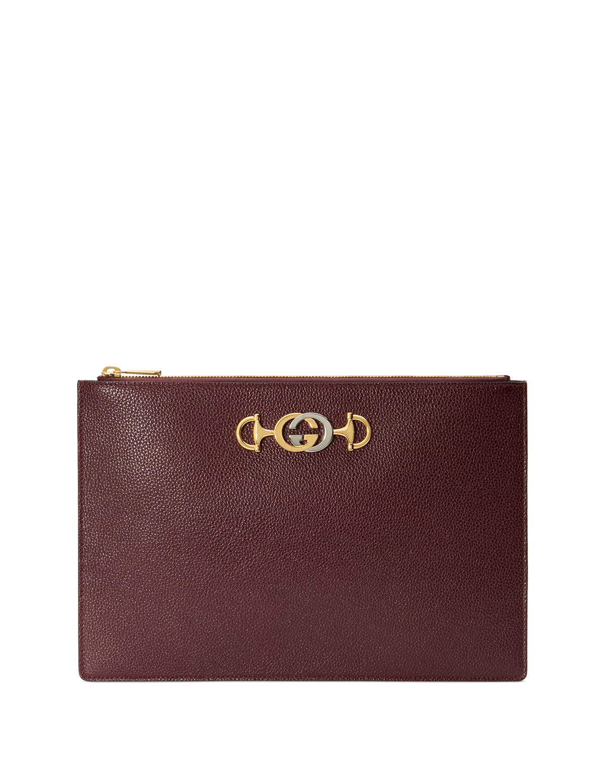 a218a2e53 Gucci Gucci Zumi Leather Pouch Clutch Bag | Neiman Marcus
