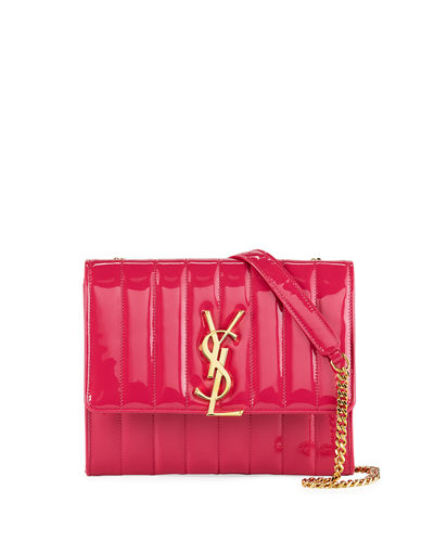 Vicky Monogram YSL North/South Quilted Patent Wallet on Chain