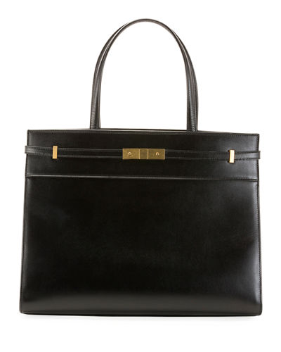 Manhattan Medium Belted Leather Shoulder Tote Bag - Golden Hardware
