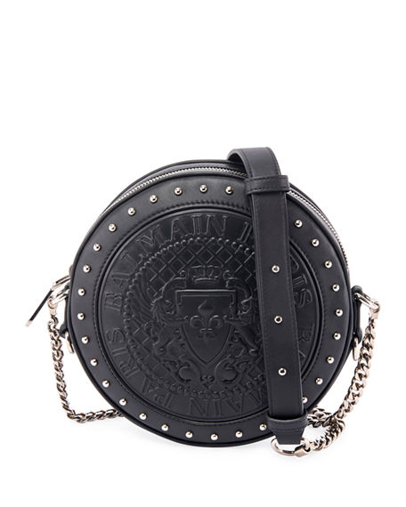 Balmain Disco Calfskin Crossbody Bag