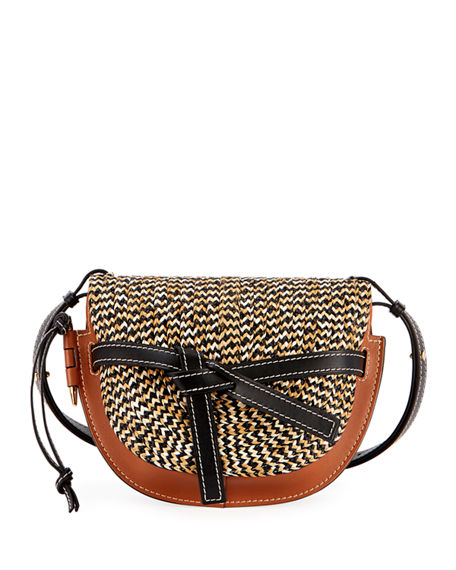 Loewe Gate Small Colorblock Raffia Shoulder Bag