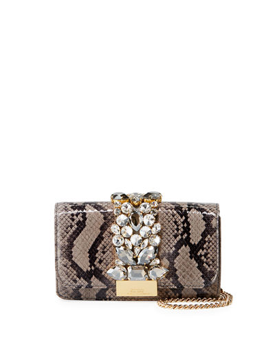 Cliky Mini Jeweled Snakeskin Clutch Bag