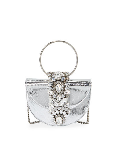Brigitte Mini Jeweled Snakeskin Top-Handle Bag