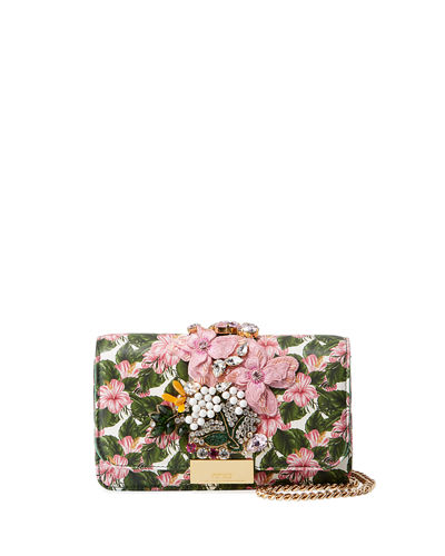 Cliky Mini Jeweled Leather Clutch Bag