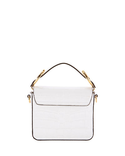 Chloe C Mini Croc-Embossed Calfskin Crossbody Bag