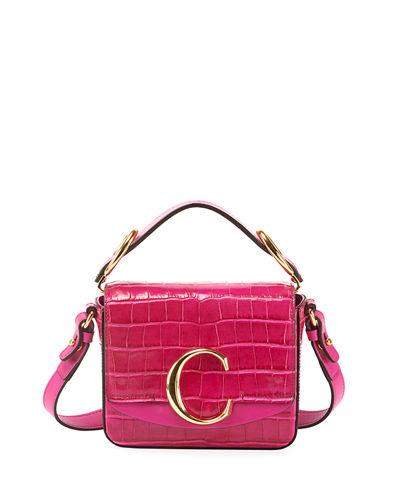 C Mini Croc-Embossed Calfskin Crossbody Bag
