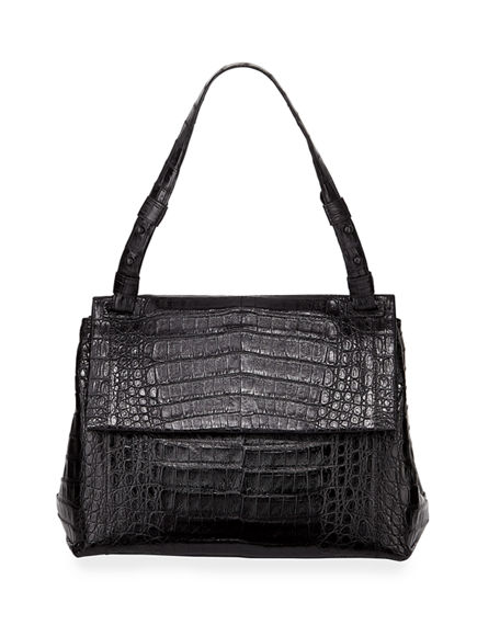 Nancy Gonzalez Sophie Crocodile Shoulder Bag In Black