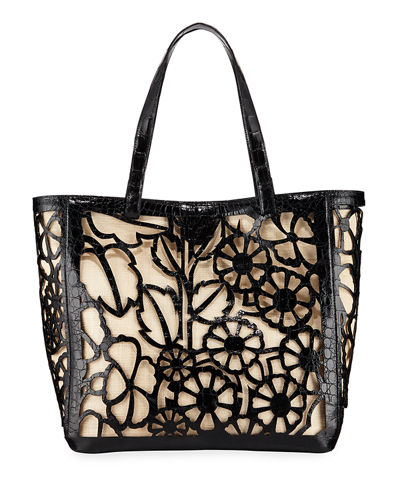 Nancy Gonzalez Floral Laser-Cut Tote Bag