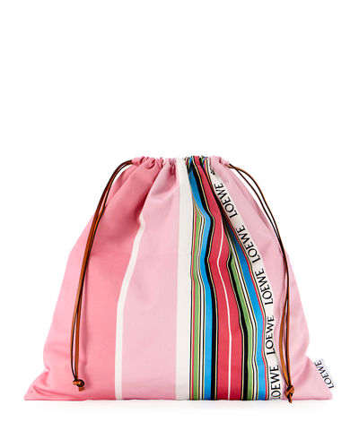Large Striped Drawstring Pouch Bag