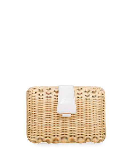 Nancy Gonzalez Wicker & Crocodile Small Clutch Bag