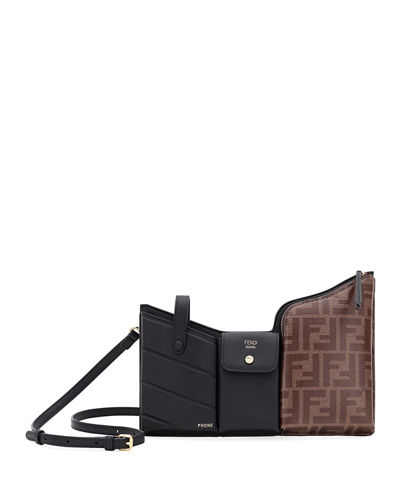Fendi Tasche Leather and FF-Embossed Crossbody bag
