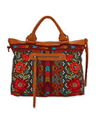 Johnny Was Ornelia Embroidered Overnight Tote Bag