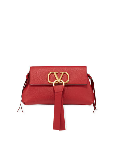 Valentino Leathers V-RING SMALL LEATHER CLUTCH BAG