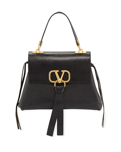 V Ring Small Leather Top-Handle Shoulder Bag