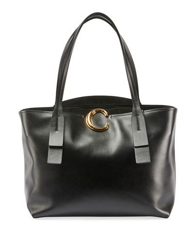 Shiny Leather Tote Bag
