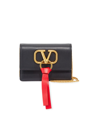 VLOGO Ribbon Leather Crossbody Bag