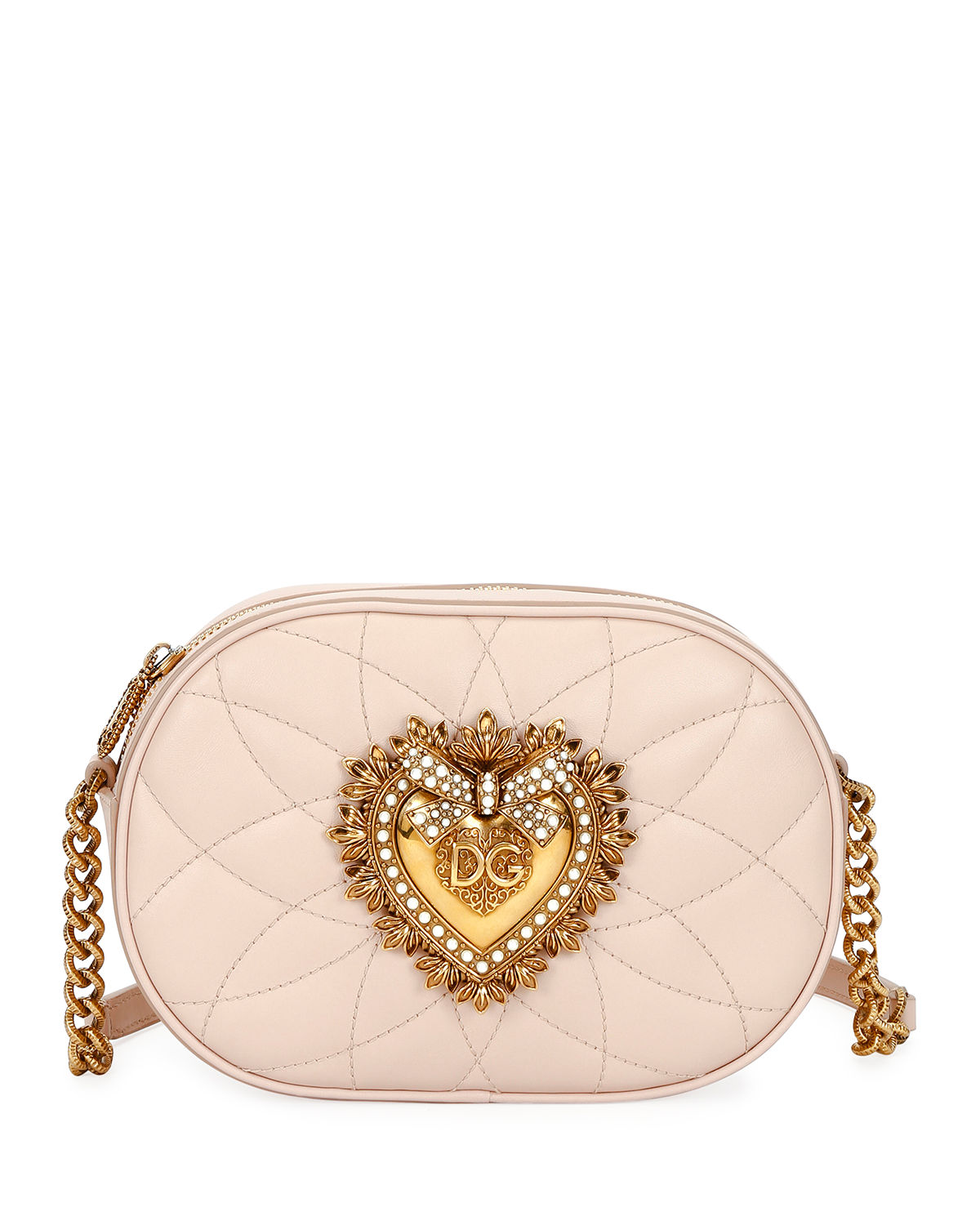df2e98f17d Dolce & Gabbana Devotion Leather Camera Bag with Heart Medallion ...