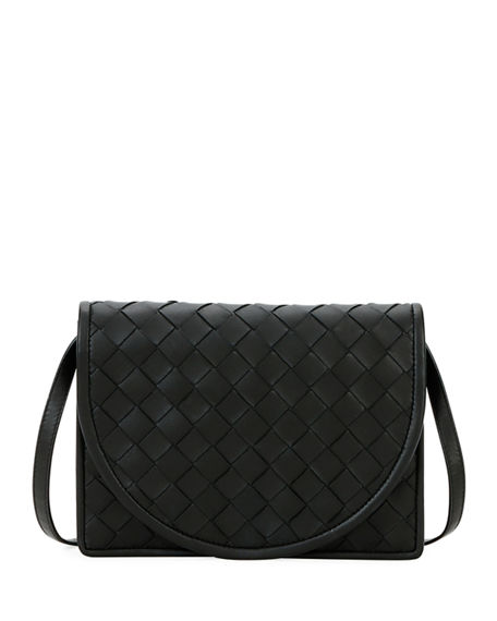 Bottega Veneta Intrecciato Flap Wallet on Crossbody Strap