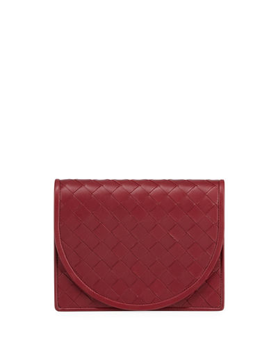 Intrecciato Flap Wallet on Crossbody Strap