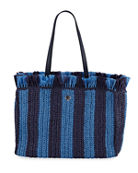 kate spade new york fringed raffia large tote