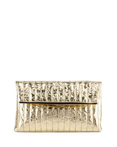 Quilted Metallic Leather Clutch Bag