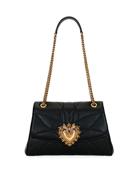 Dolce & Gabbana Devotion Soft-Sided Leather Shoulder Bag