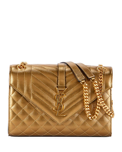 Medium YSL Monogram Metallic Shoulder Bag