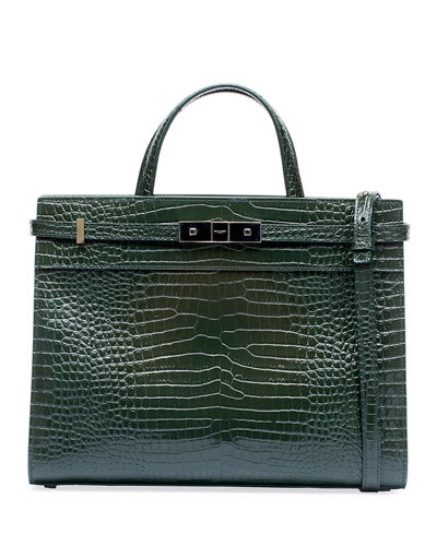 Manhattan Medium Crocodile-Embossed Tote Bag