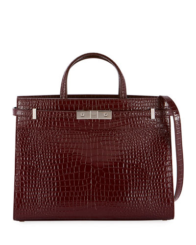 Manhattan Small Crocodile-Embossed Tote Bag