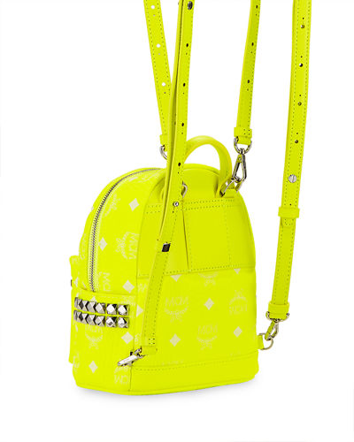 MCM Stark 20 Visetos Neon Logo-Print Mini Backpack