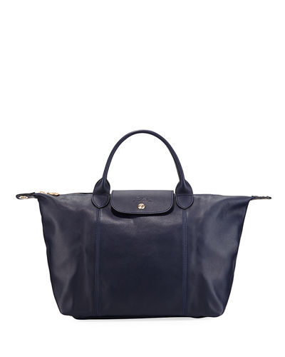 Le Pliage Cuir Webbing Medium Tote Bag, Blue