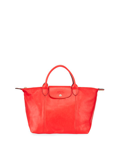 Le Pliage Cuir Webbing Medium Tote Bag